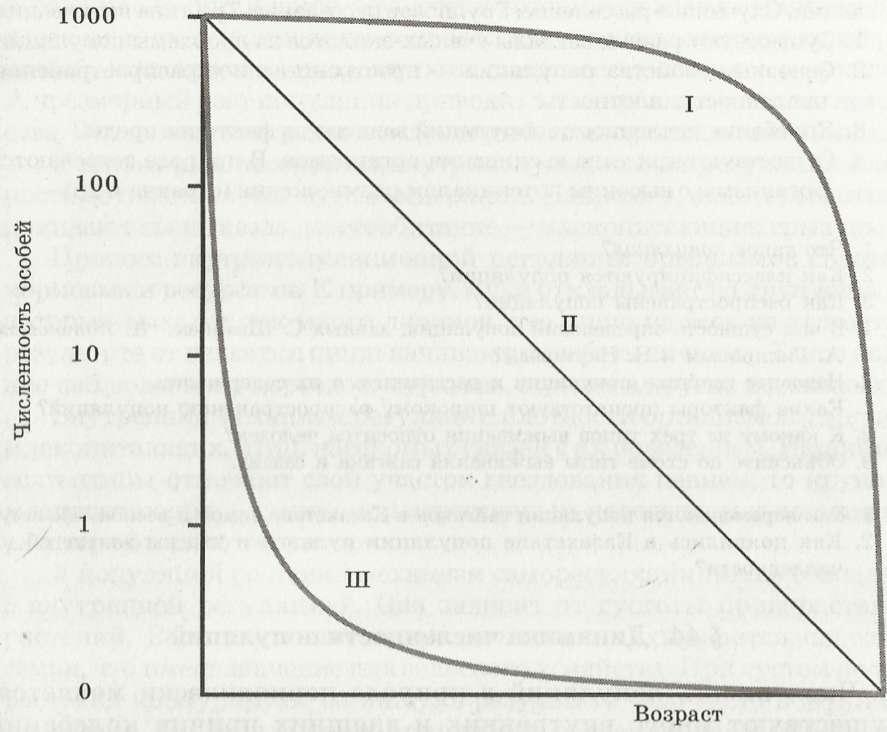 Схема 6. низкая смертность на ранних стадиях развития и повышенная на поздних стадиях (насекомые, крупные...